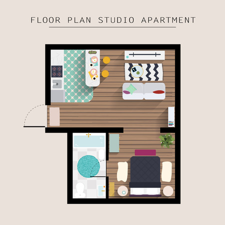 one bedroom: Detailed apartment furniture overhead top view. Studio Apartment With One Bedroom. Flat style vector illustration.