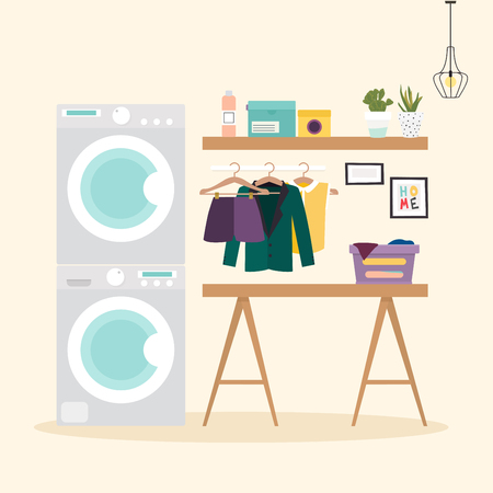 washing powder: Laundry room with facilities for washing. Wash machine, flasket, washing powder, clothes Flat design elements, minimalist style. Vector illustration.