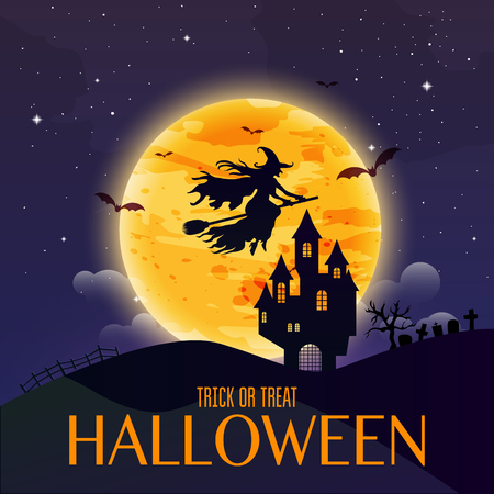 tree silhouette: Dark house on blue full Moon. Witch flying over the moon. Happy Halloween. Vector illustration. Illustration