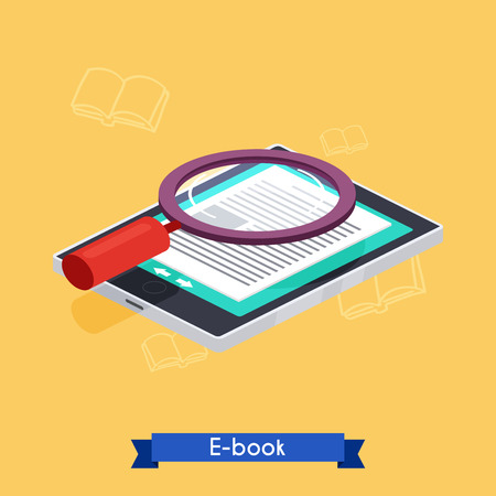reader: Flat 3d isometric e-book reader and books. E-learning. Flat design modern vector illustration concept.