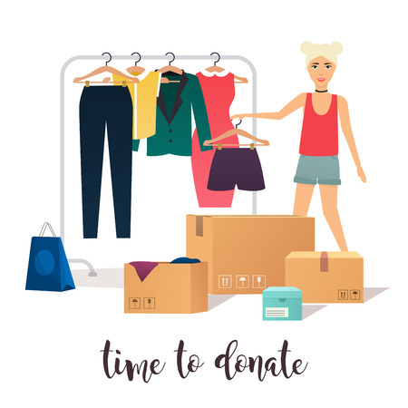 needy: Clothes donation. Girl makes clothes donations. Boxes full of clothes. Vector concept illustrations. Illustration