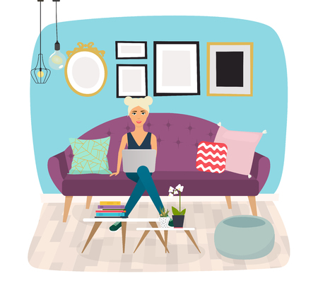 freedom woman: Girls working at home. Young woman sitting on a sofa and using laptop. Freelance, self employed, freedom, in living room. Illustration