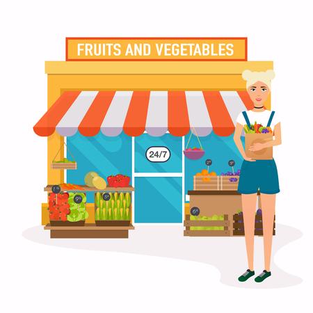 mercado de los granjeros. La mujer sostiene? Aper bolsa con alimentos saludables. Diseño plano moderno concepto de ilustración vectorial.