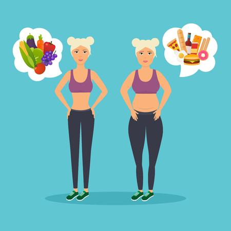Cartoon character of fat woman and lean girl. Diet. Choice of girls: being fat or slim. Healthy lifestyle and bad habits. Illustration