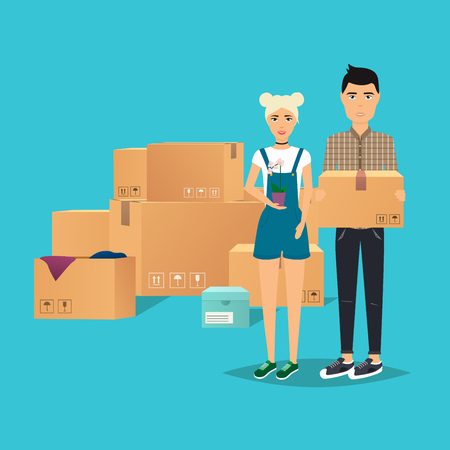 moving box: Young Couple Moving. Box for moving, open box. Flat design modern vector illustration concept. Illustration