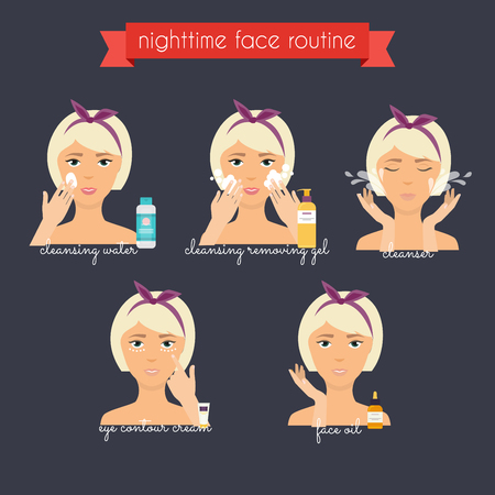 exfoliation: Nighttime face care routine. Everyday Skincare and makeup. Illustration