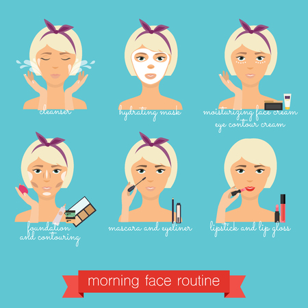 exfoliation: Morning  face care routine. Everyday Skincare and makeup. Illustration