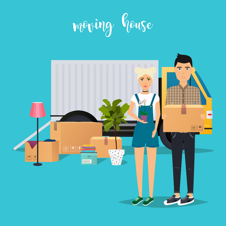 Young Couple Moving. Moving truck and cardboard boxes. Shipping cargo delivery. Flat design modern vector illustration concept. Illustration