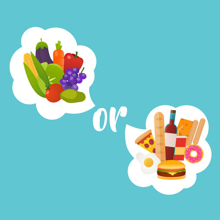 dilemma: Healthy or fast food. Diet, nutrition, fitness and health concept. Nutrition choice and diet decision concept and eating dilemma.