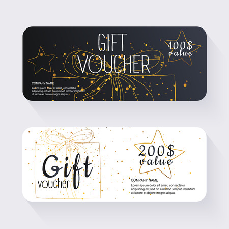 vouchers: Gift voucher template with gold gift box, Gift certificate. Background design gift coupon, voucher, certificate, invitation, currency. Collection gift certificate. Vector illustration.