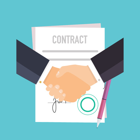 business contract: Handshake of business people on the background of the contract. Flat design modern vector illustration concept.