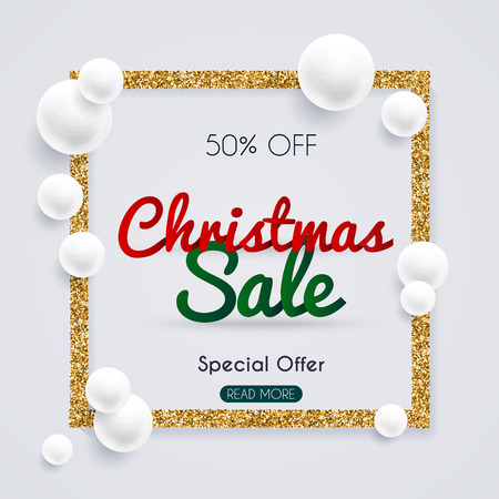 Christmas sale banner in a frame of gold glitter with white pearl. Poster, Flyer. Blurred background. Vector illustration.