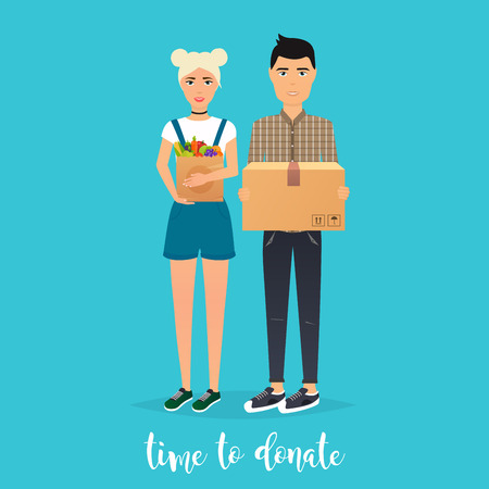 Young Couple makes donations. Food and clothes donation boxes. Flat design modern vector illustration concept.