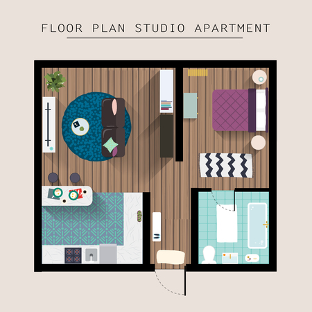 kitchen studio: Detailed apartment furniture overhead top view. Studio Apartment With One Bedroom. Flat style vector illustration.