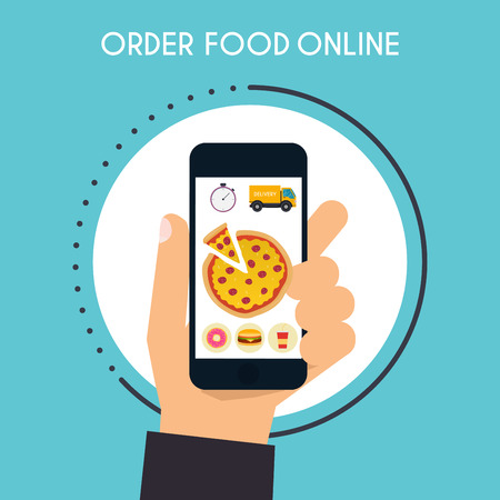 hand holding smart phone: Hand holding mobile smart phone with delivery food app. Order food online. Vector modern flat creative info graphics design on application. Illustration