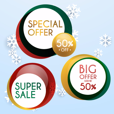 house clearance: Set of sale xmas banners design, discounts and special offer. shopping background for business promotion. Vector illustration. Illustration