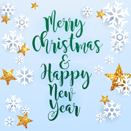 open type font: Christmas Greeting Card. Vector realistic volumetric background with golden glitter star.
