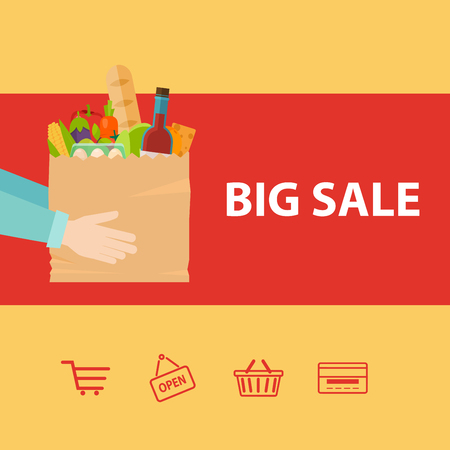 comercial: Hand holding paper bag with healthy foods. Big sale. Flat vector icon.