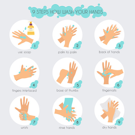 9 steps to properly wash your hands.  Flat design modern vector illustration concept. Vettoriali