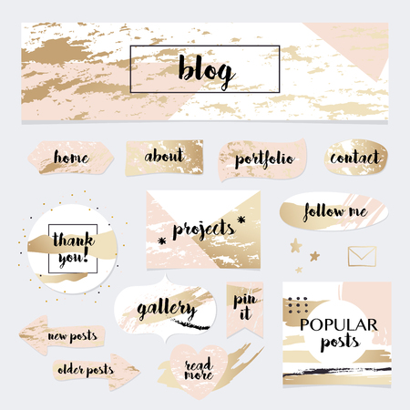 A set of blog design elements kit. Frames, dividers, decorative elements.