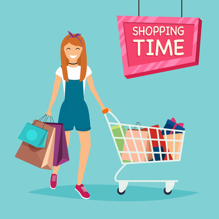 sexy brunette woman: Girl with shopping bags and cart for shopping from the store. Sale. Flat design modern vector illustration concept.