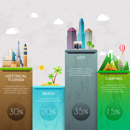 Different places to travel. Business infographic. Vector illustration.