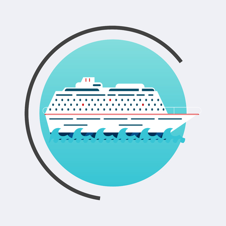 cruising: Cruise Ship icon. Vector travel concept background. Flat design modern illustration. Illustration