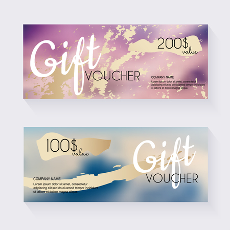 Gift voucher template with blu?red background. Background design coupon, voucher, certificate, invitation, currency. Vector illustration.