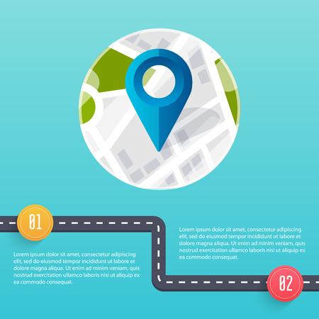road design: Road infographic template. Flat design vector illustration.