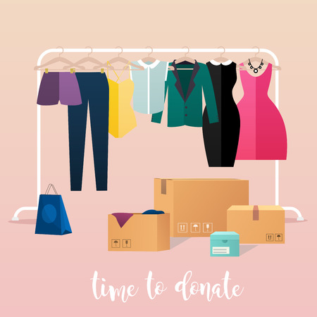 poverty relief: Clothes donation. Girl makes clothes donations. Boxes full of clothes. Vector concept illustrations. Illustration