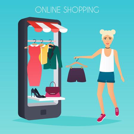 shoppers: Girl make shopping online from phone. Sale. Flat design modern vector illustration concept.