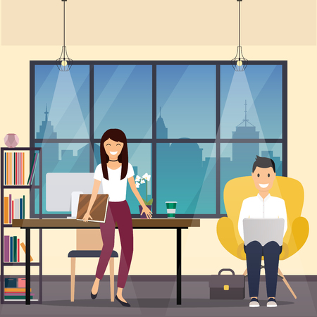 office presentation: Business man and woman in office space. The meeting, presentation, conference, social life. Vector illustration.