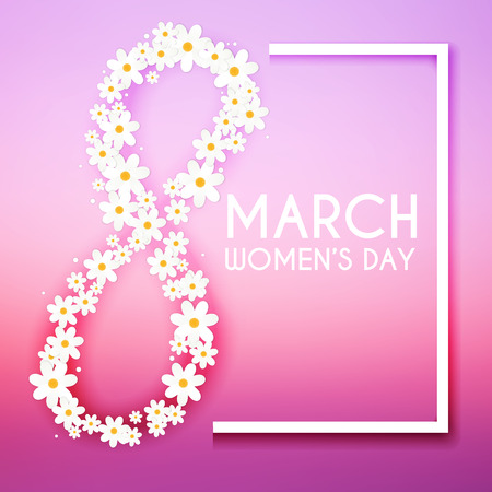 womans day: 8 March. Womens Day greeting card template.
