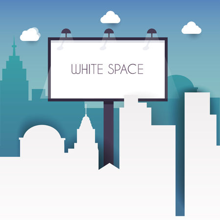 billboard advertising: Billboard with copy space text standing high over large city street skyscrapers buildings. Flat design modern vector illustration concept.