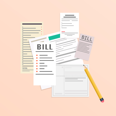 Paying bills. Payment of utility, bank, restaurant and other bills. Flat design modern vector illustration concept. Ilustração Vetorial