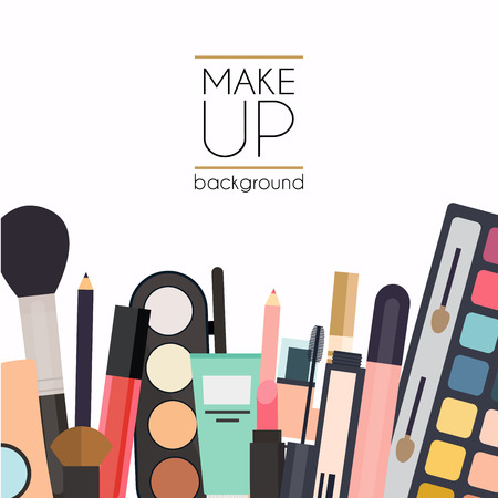 skin color: Makeup cosmetics and brushes on white background.Lipstick, eyeshadow, heart. Unusual creative set. Beauty flat lay concept in colors.