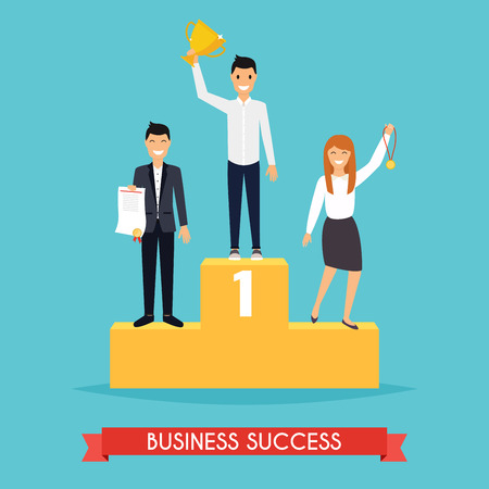 Businessman and businesswoman character standing in a podium holding up a trophy as he celebrates his victory. Illustration