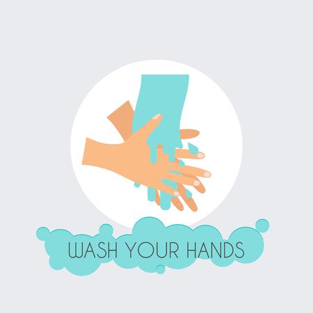 rub: Wash your hands. Flat design modern vector illustration concept. Illustration