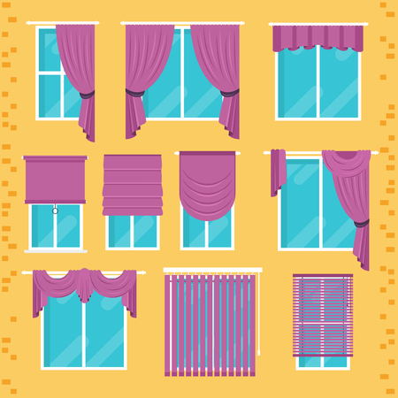roman blind: Collection of various window treatments: curtains, drapery, shades, blinds. Flat design modern vector illustration Illustration