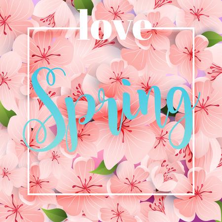 Love Spring. Flowers, leaves, dandelion, grass. Design for invitation, wedding or greeting cards.
