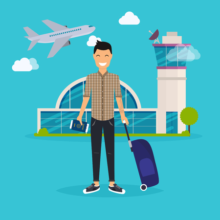 map case: Young man traveling with travel bag, holding passport and tickets. Airport. Travel and tourism. Flat design modern vector illustration concept.