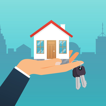 Real estate agent holds the key from the home. Offer of purchase house, rental of Real Estate. Flat design modern vector illustration concept.