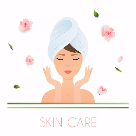 dermatology: Young woman in towel with clean fresh skin touch own face.