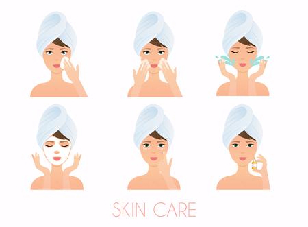 Gesichtspflege Routine. Mädchen Reinigung und Pflege Ihr Gesicht mit verschiedenen Aktionen Set. Hautpflege Vektor. Standard-Bild - 77261767