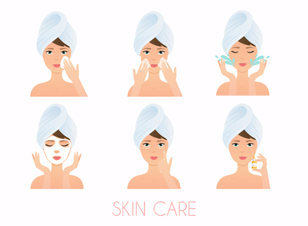 Face care routine. Girl Cleaning And Care Her Face With Various Actions Set.  Skincare vector.