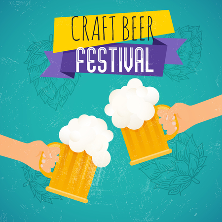 Craft beer festival. Two hands holding beer glass. Beer festival poster or flyer template. Flat vector illustration. Ilustração