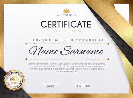 certificate design: Certificate template with golden decoration element. Design diploma graduation, award. Vector illustration. Illustration