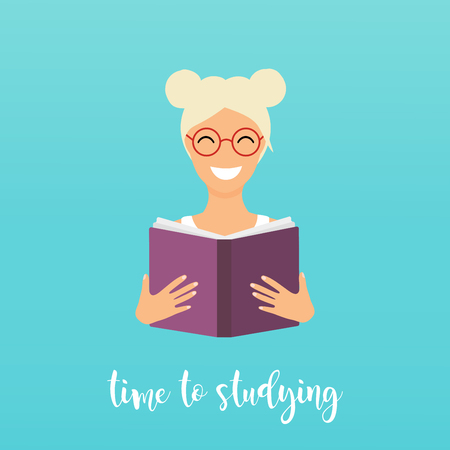 laptop: Time to studying. Girl reading a book. Flat design vector illustration.