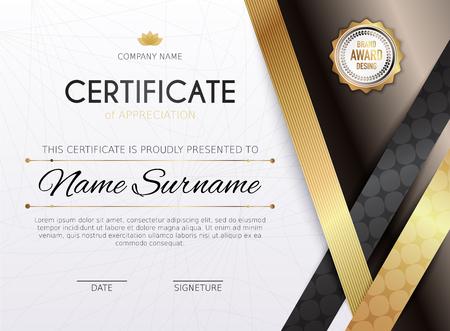 stock certificate: Certificate template with golden decoration element. Design diploma graduation, award. Vector illustration. Illustration