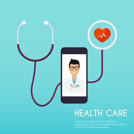 Online medical consultation concept. Flat design style modern vector illustration concept.